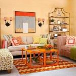 Living mic decorat in nuante de portocaliu