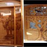 Modele de usi exterioare sculptate in lemn masiv