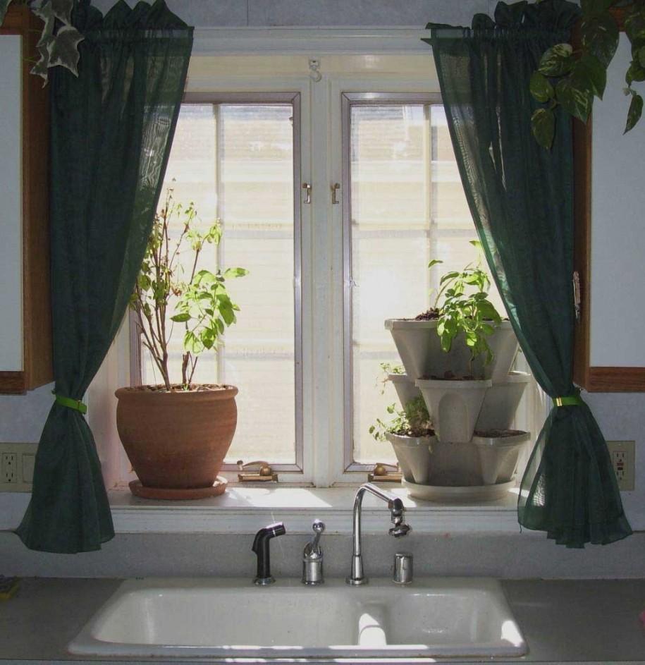 perdea din tul verde inchis pentru bucatarie