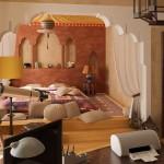 Dormitor amenajat in stil marocan cu pat foarte jos
