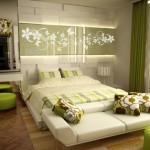 Dormitor cu accente de verde crud