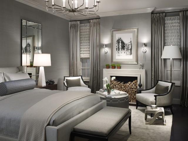 Jaluzele romane in falduri combinat cu draperii captusite pentru dormitor modern
