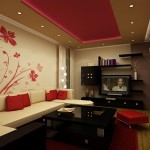 Living mic decorat spatios cu accent de culoare rosu