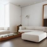Living room minimalist cu oglinda mare inramata