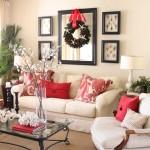 accente de rosu intr-un living room clasic in nuante deschise