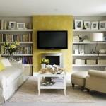 biblioteca amenjata cu stil in living room cu rame foto si tablouri