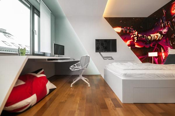 Dormitor alb pentru camera baiat la scoala