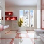 Baie moderna cu pete mici de rosu deschis si etajere rosu aprins