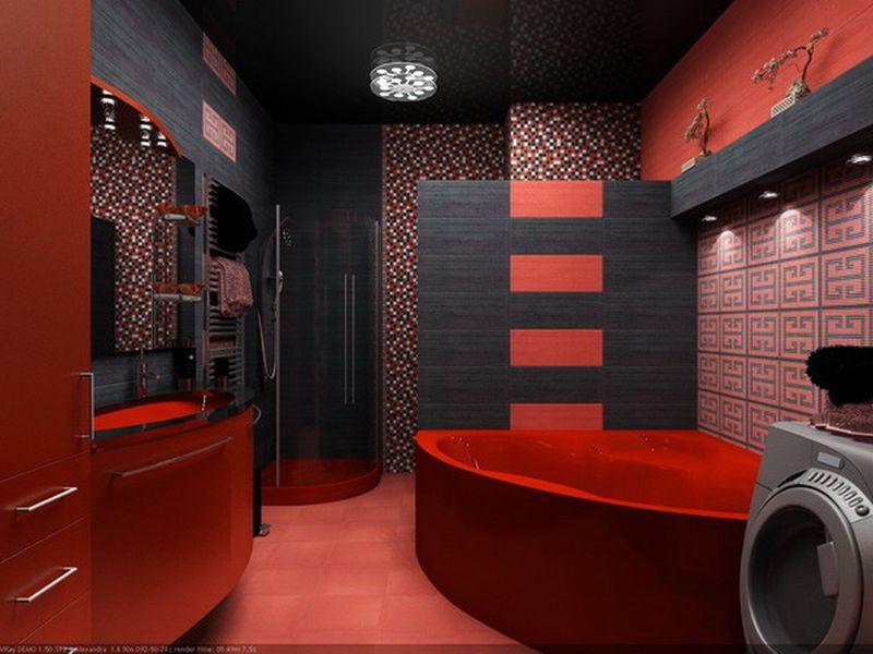 Cada si mobilier rosu cu gresie de diferite stiluri si for Black and red bathroom designs