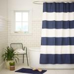 Perdea pentru baie in culori marinaresti, alb si albastru