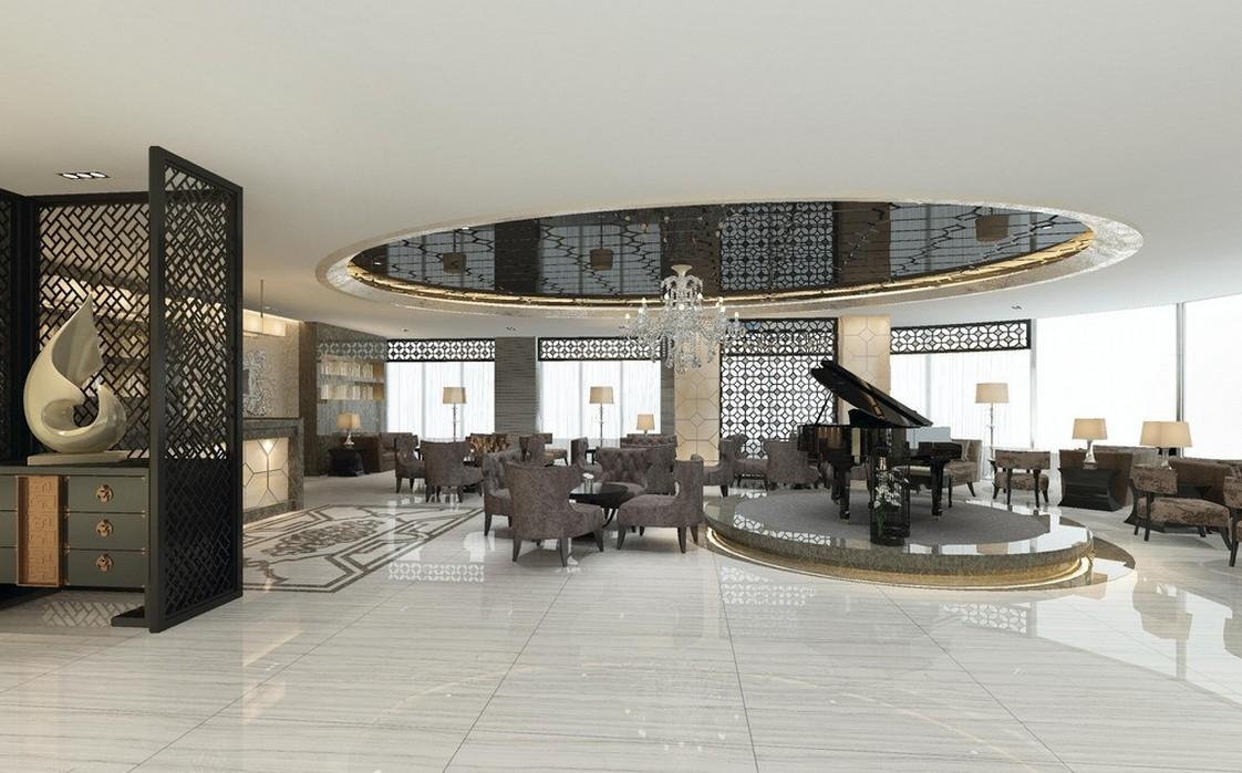 Idee de amenajare a unei cafenele luxoase sau receptie de hotel