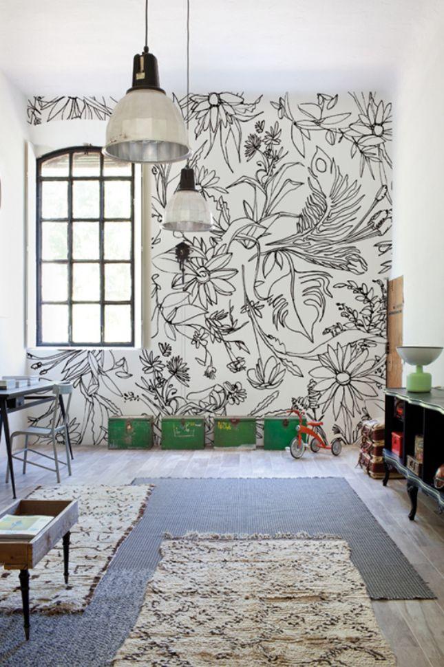Tapet alb cu imprimeu floral negru