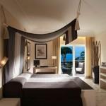 Dormitor modern pat cu baldachin din perete