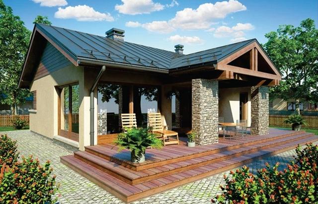 proiect de casa cu doua dormitoare vedere exterioara