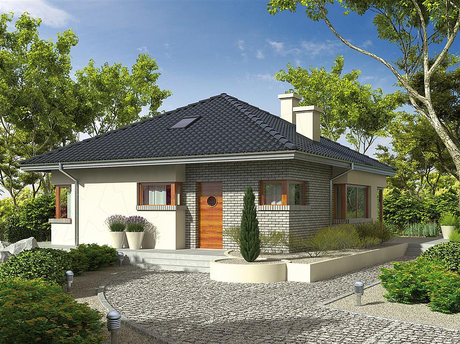 Fatada casa cu caramida aparenta for Proiect casa 100 mp fara etaj