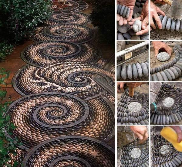 Alee curte din pietre de rau asezate in spirala