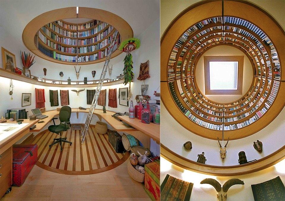 Biblioteca pentru carti in tavanul casei