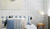 Caramida vopsita in alb perete modern