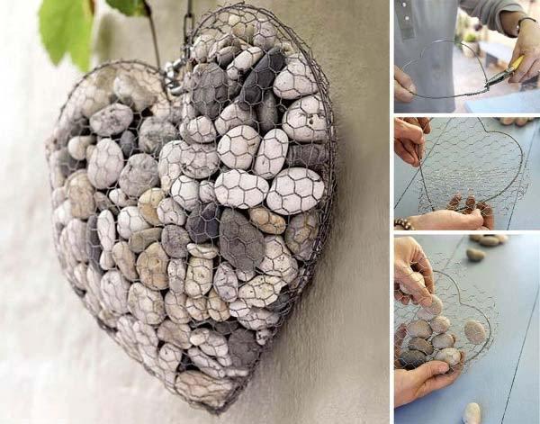 Decoratiune gradina gabion din plasa si pietre