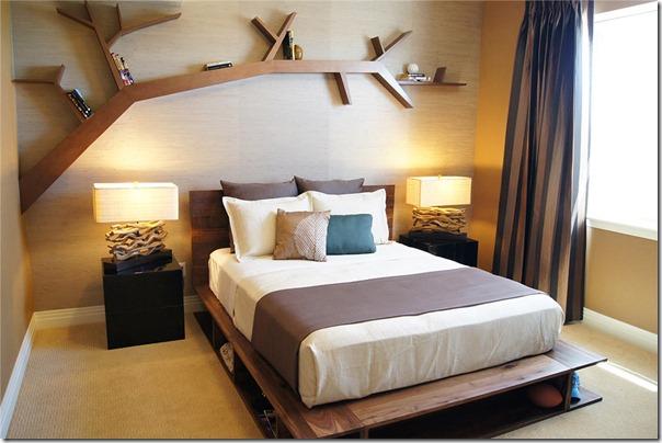 Etajere lemn deasupra patului