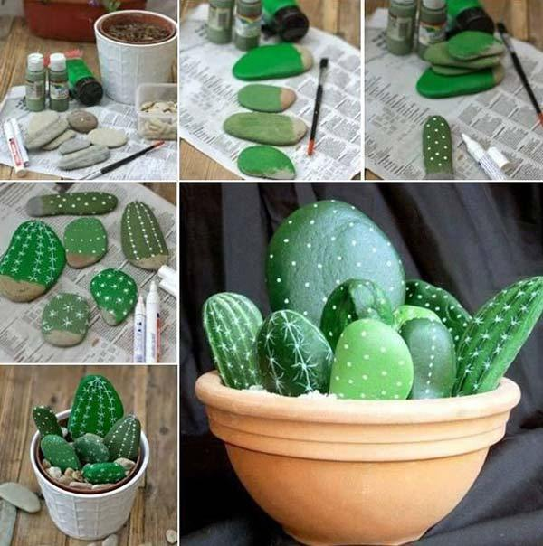 Ghiveci decorativ cu cactusi pictati pe pietre