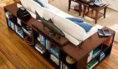 Model canapea cu etajere pentru carti