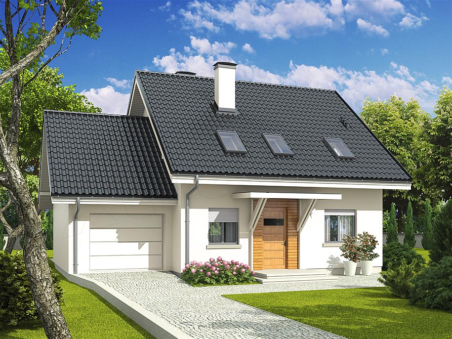 Model de casa cu garaj lipit