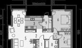 Schita parter casa cu 2 dormitoare si terasa