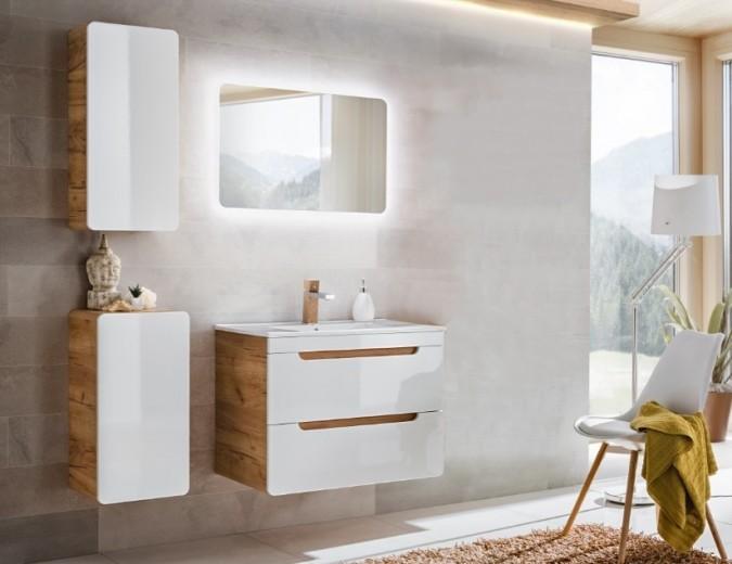 mobilier suspendat alb baie